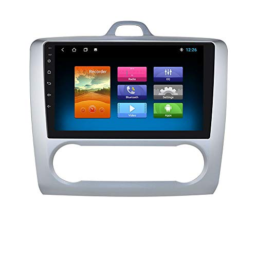 Navegación GPS con Radio de Coche Android 10 de 2 + 32GB con Pantalla táctil de 9 Pulgadas 1080P Compatible con Ford Focus Exi At 2004-2011 Multifunción