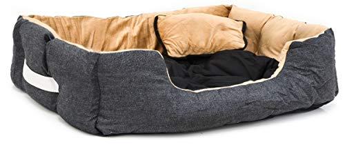 EYEPOWER Hundebett 82x70x20 cm Hundekissen Waschbar Tierkissen Tierbett Katzenbett Katzenkissen Innenkissen Schwarz-Beige