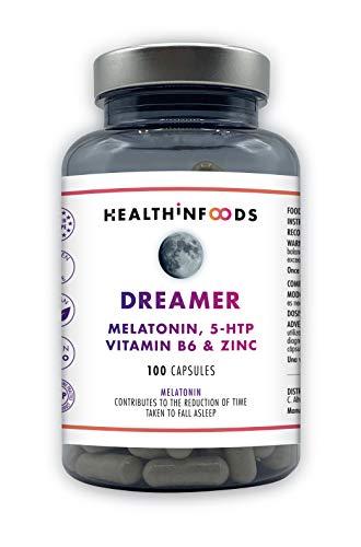 Melatonina Pura 1,95 mg,5HTP,Vit B6,Zinc,Valeriana,Melisa,Pasiflora-DREAMER Healthinfoods-Facilita Relajación y Mejora Calidad del Sueño y estado de ánimo-Reduce Ansiedad,Estrés,Insomnio.100 Cápsulas