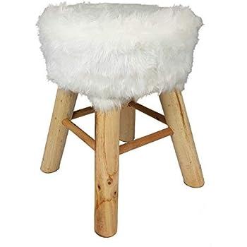 Spetebo Design Fell Hocker weiß Massiv Holz Sitzhocker Polsterhocker Holzhocker rund