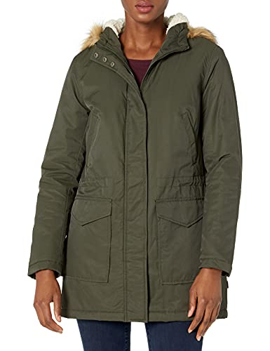 Levi's Women's Plus Size Performance Midlength Parka Jacket, Army Green/sherpa lining, 3 X