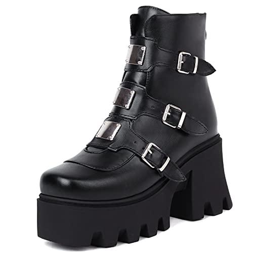 SaraIris Botas de plataforma femininas estilo punk gótico salto grosso cano médio botas de motocicleta com fivela cravejada, 8 Z-3 Black, 9.5