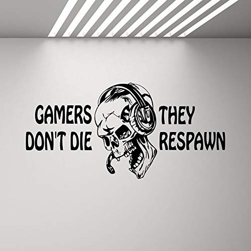 Spieler sterben nicht Sie Respawn Wandaufkleber Videospiel Kinder Xbox Spiel Schädel Kopfhörer Zitat Poster Vinyl Aufkleber Jungen Spielzimmer Schlafzimmer Dekoration Wandbild