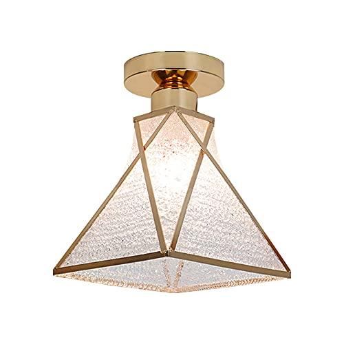Moderna lámpara de techo minimalista E27, portalámparas, bombilla de metal, pantalla de lámpara de techo Flush Mount LED para pasillo, restaurante, salón, escaleras, entrada, lámpara (rombo)
