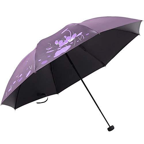 Paraguas Paraguas plegable Apertura y cierre manual Uso combinado de lluvia intensa 8 huesos pesados Ligero con bolsa de almacenamiento Resistencia al agua y al viento y protección contra el calor y