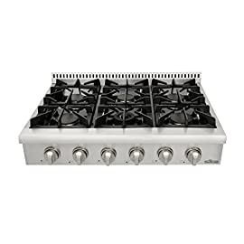 Thorkitchen Pro-Style Gas Rangetop with 6 Sealed Burners 36 - Inch, Stainless Steel HRT3618U 3 2 Year Parts and Labor CSA Certified 304 stainless steel