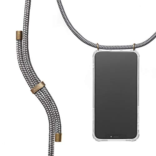 KNOK Handykette Kompatibel mitApple iPhone 7/8- Silikon Hülle mit Band - Handyhülle für Smartphone zum Umhängen - Transparent Hülle mit Schnur - Schutzhülle mit Kordel in Grau
