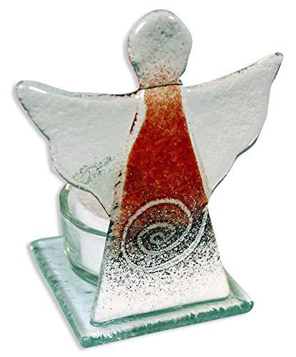 Glasengel mit Glasteelicht Spirale rot