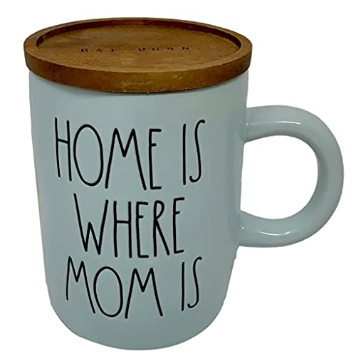 RAE DUNN HOME IS WHERE MOM IS BLUE MOTHER'S DAY COFFEE MUG WITH WOOD LID/COASTER. – Artisan Collection By Magenta – All blue mug with wooden coaster/topper/lid - Great Mother's Day Gift