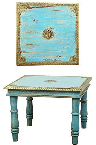 Orientalischer Couchtisch Beistelltisch Anjay 55cm Groß | Vintage kleiner Tisch aus Holz massiv mit Messing verziert für Ihre Wohnzimmer | Niedriger Marokkanischer Sofatisch Wohnzimmertisch Blau