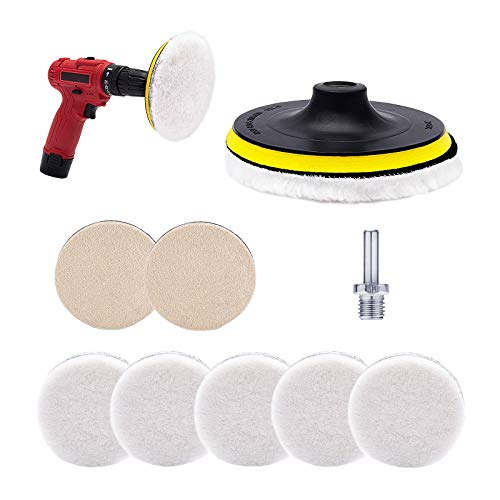 Set of 8 Buffing Wool Pads Kit- 2 Woolen Polishing Pads + 5 Polishing Waxing Wool Buffer Pads + Hook and Loop Backing Pad with M14 Drill Adapter for Car & Boat Polishing Waxing Cutting