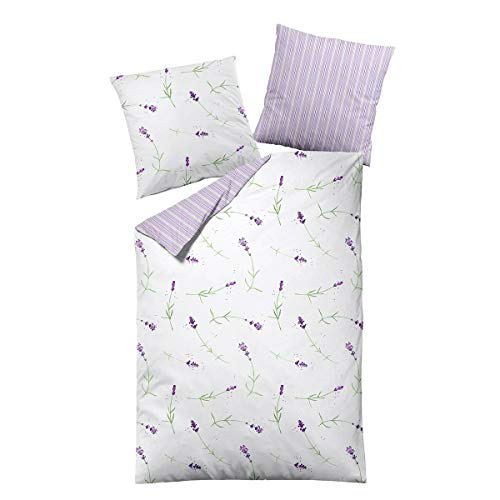 Dormisette Mako-Satin Bettwäsche Lavendel weiß 1 Bettbezug 135 x 200 cm + 1 Kissenbezug 80 x 80 cm