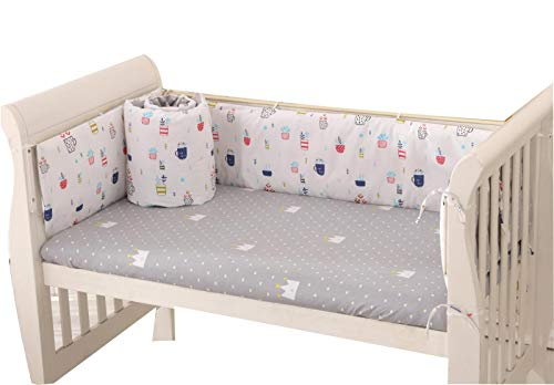 Baby Infant Crib Bumper Pads Bed Cotton Safety Rail Guard Breathable, Cradle Protector, Cot Sleep Bumper Pillow, Machine Washable, Bed Sheet, 4-Sides Coverage, 120×60,B2
