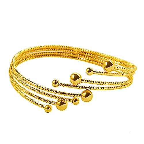 Pulsera de múltiples capas para mujer, chapado en oro amarillo de 18 quilates, regalo clásico de boda