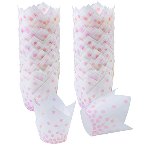Ruisita 150 Pieces Tulip Baking Cups Pink Polka Dot Cupcake Liners Muffin Baking Cup for Birthday, Weddings, Anniversaries, Christmas(Pink)