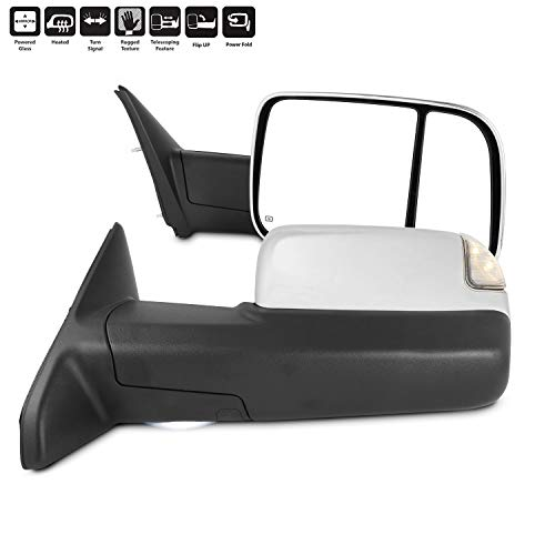 For 2009-2018 Dodge Ram Towing Mirrors With Power Folding | Temperature Sensor |Heat | Turn Signal | Light - Chrome