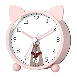 Kpin Battery Bedside Alarm Clock for Kids,Small Analog Silent Clock with Night Light Function,Suitable for Bedroom/Desk/Study(Pink Small)