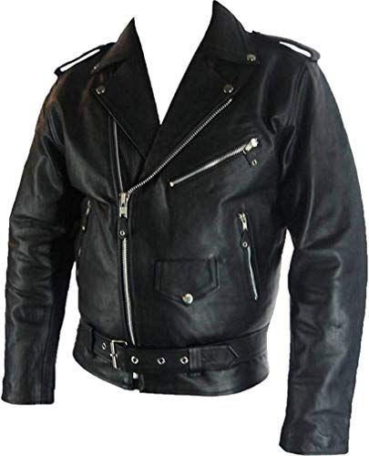 UNICORN Hombres Genuino real cuero chaqueta Estilo clásico Biker Brando Negro #B2 Tamaño (M)