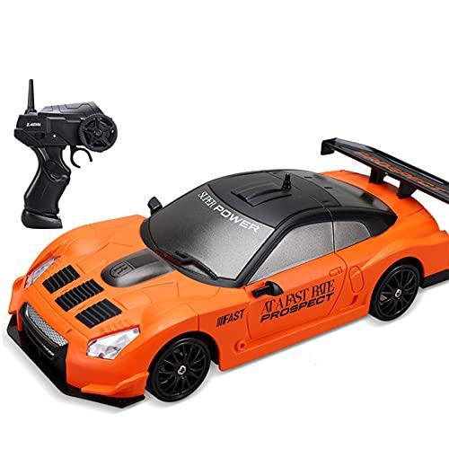 IIIL 1/24 RC Drift Coche 2.4Ghz Coche Teledirigido 4WD Vehículo Carretera Alta Velocidad con Luz LED, Baterías Y Neumáticos Deriva, para Adultos Niños Juguetes Regalos,F