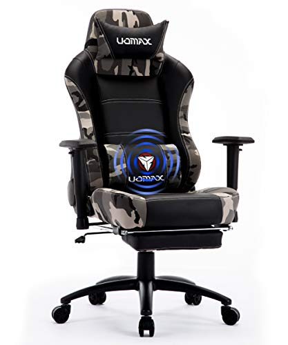 UOMAX Gaming Chair, Massage Gamer Chair with footrest, Reclining Racing Chair for Adults, Ergonomic Racing Computer Gaming Chair for Teens (Black)