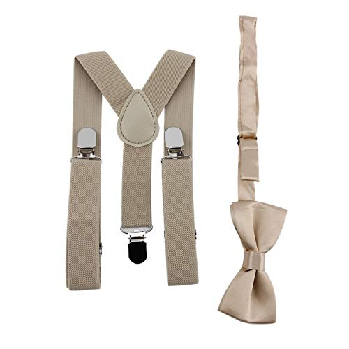 Ballylelly Verstellbar und elastisch mit Metallklammern Polyester Kids Design Hosenträger und Fliege Fliege Set passenden Krawatten Outfits