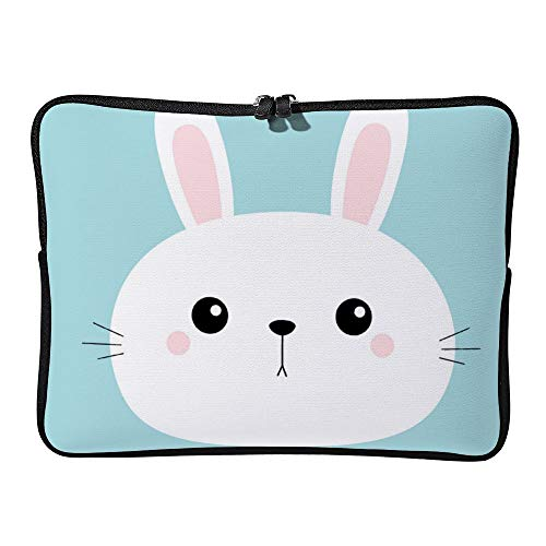DKISEE Rabbit Bunny Head Face Round Icon Cute Cartoon Laptop Sleeve for MacBook Air/MacBook Pro Compatible with 13 Inch Notebook Two way Zippers Laptop Carry Bag Case Cover