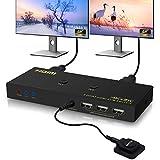 KVM Switch Veiniya KVM Switch HDMI 2 Ports HDMI 2.0 USB2.0 KVM Umschalter 4k@60Hz 3D/1080P Ultra HD HDMI Switcher Aktie Monitor Maus Tastatur für Laptop, PC, PS4, Xbox Externe Umschalttaste