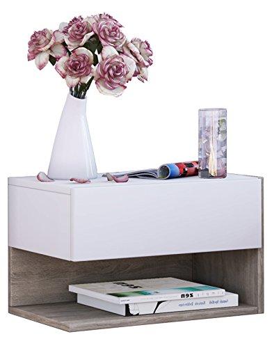 VCM Wandschublade Hängeschrank Wandregal mit Schublade Wandablage Dielenschrank weiß / sonoma-eiche 30x46x30 cm Klado