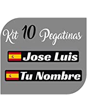 Kit x10 Pegatinas Vinilo Bandera España + tu Nombre - Bici, Casco, Pala De Padel, Monopatin, Coche, Moto, etc. Kit de Diez Vinilos (Pack Fuentes 2)