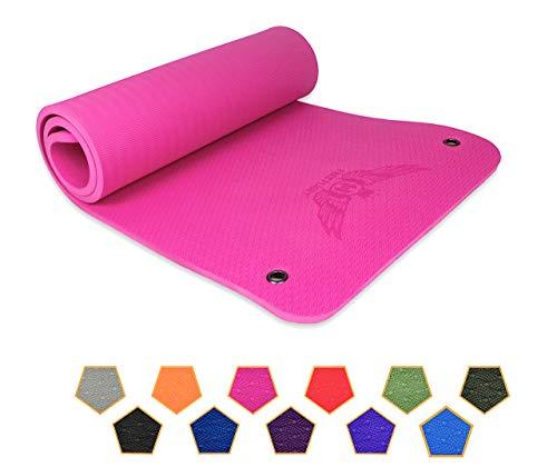 FREE FLIGHT Yogamatte rutschfest Fitnessmatte Gymnastikmatte Pilatesmatte Sportmatte Profimatte mit Ösen zum Aufhängen extra dick 1,5 cm hohe Dichte, SGS geprüft (Pink, 183 x 61 x 1,5 cm)