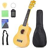 JIAN YA NA Principiante Ukelele 21 pulgadas Hawaiian Uke Mini Guitarra Starter Kit con funda, cuerdas, afinador, selección