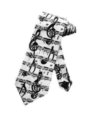 Steven Harris cravate notes de musiques noires - blanc - taille unique