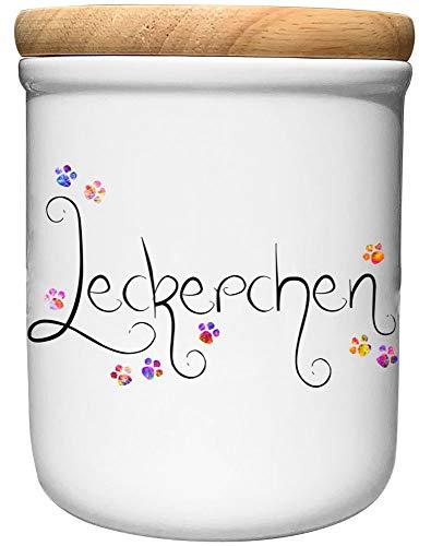Cadouri Keramik Leckerli-Dose » Leckerchen «┊Snackdose Keksdose Aufbewahrungsdose┊mit Holzdeckel