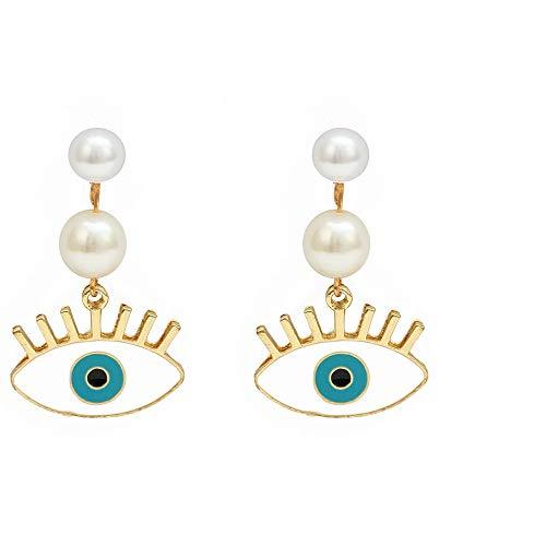 1 par de pendientes Vintage Punk Evil Eye pendientes de gota de círculo de Color dorado para mujer pendientes de perlas de imitación para mujer joyería