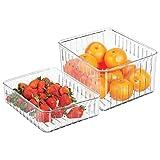 mDesign Juego de 2 cajas organizadoras para frigorífico – Prácticas cajas para comida con ranuras de ventilación para una mejor conservación – Cajas plásticas grandes sin BPA – transparente