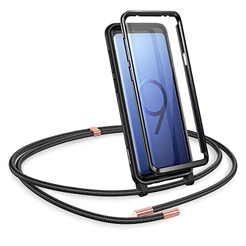 SURITCH Kompatibel mit Samsung S9 Plus Handykette Handyhülle mit Kordel zum Umhängen Necklace Hülle mit Band Schutzhülle mit integriertem Displayschutz für Samsung Galaxy S9 Plus (Schwarz)