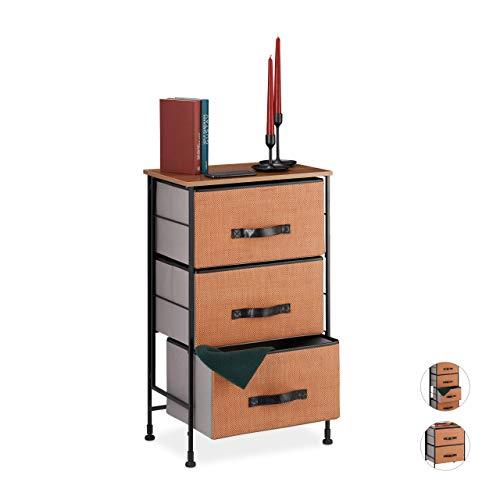 Relaxdays ladekast, 3 uittrekbare stoffen manden, houtlook, ladenkast, staal, 76,5 x 45 x 30 cm, rood-bruin