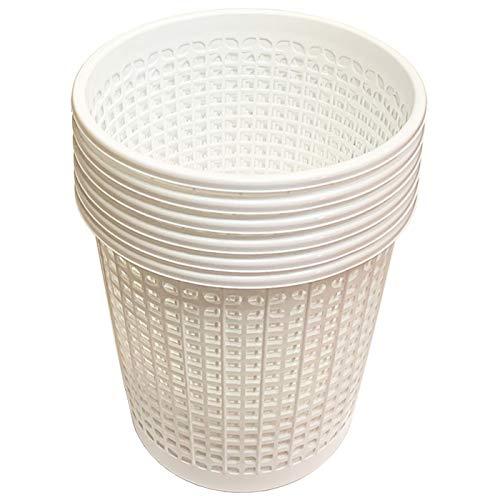 Acan Pack de 6 Papeleras de Plástico Blanco para Despacho Oficina Cubo Rejilla de Plástico Cubo de Basura para Oficina