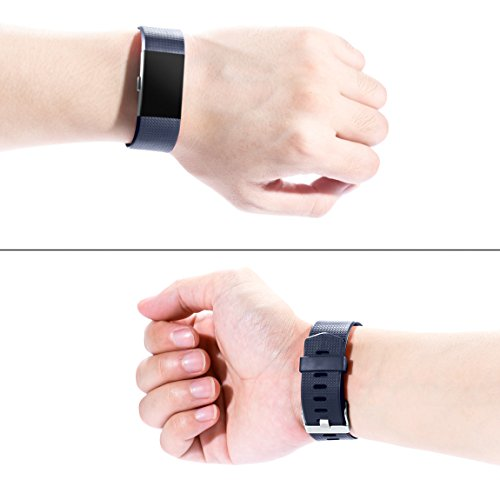 Maledan Bands Replacement Compatible with Fitbit Charge 2, 3-Pack, Large Gray/Blue/Black