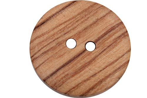 6 Stück, hübsche Holz Knöpfe, 2 Loch, aus europäischer Fertigung, mit sichtbarer Maserung, leicht gewölbt, Holzknöpfe, Natur Knöpfe (21mm)