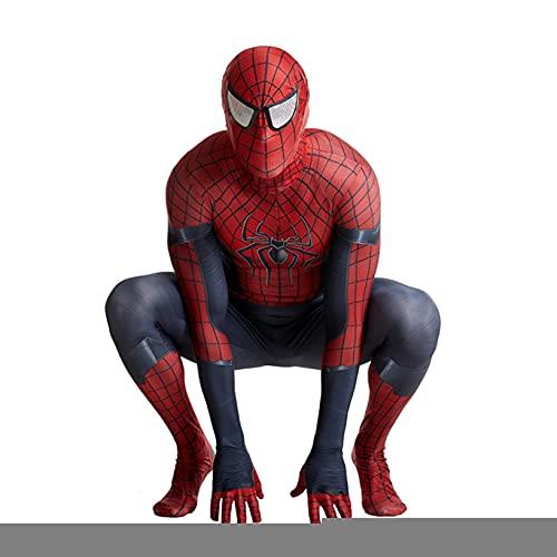Nuitab Increíble Spiderman Cosplay Costume Kid Adult Superhero Body Halloween Party Fancy Dress Traje Elástico Lycra Spandex Trajes Theme Fiesta Catsuit,Red-Adult (190~200cm)