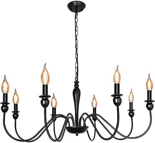ASHUAQI Lampadario a 8 fiamme, luce a sospensione antica regolabile in altezza per soggiorno, camera da letto, cucina, 8 x E14 max. 60W, Stile Country