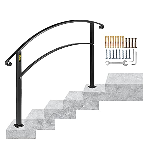 Happybuy Handrails for Outdoor Steps, Fit 1 or 5 Steps Outdoor Stair Railing, Black Wrought Iron Handrail, Flexible Front Porch Hand Rail, Transitional Handrails for Concrete Steps or Wooden Stairs