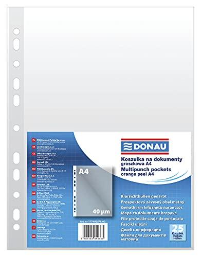 DONAU 1774925PL-00 Prospekthüllen Genarbt Oben Offen Klarsichthüllen Sicht-Hüllen Gelochte Plastikhülle für Dokumente Papiere Akten Ordner/PP Din A4, Transparent 40 mikron/µm, 25 stk.