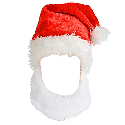 4E s Novelty Christmas Santa Claus Hat with Beard 62cd493ace7