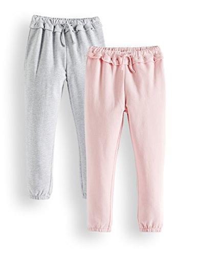 Amazon-Marke: RED WAGON Mädchen Jogginghosen mit Rüschen, 2er-Pack, Mehrfarbig (Coral Blush Medium Grey Melange 14-1909 Tcx Medium Grey Melange), 140, Label:10 Years