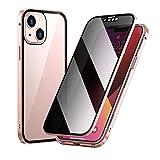 AWJK Estuche Anti Peep para iPhone 13 Carcasa Magnética, Carcasa Frontal Y Trasera De 360 ° De Cuerpo Completo, Protector De Pantalla Integrado De Parachoques para iPhone 13,Rosado