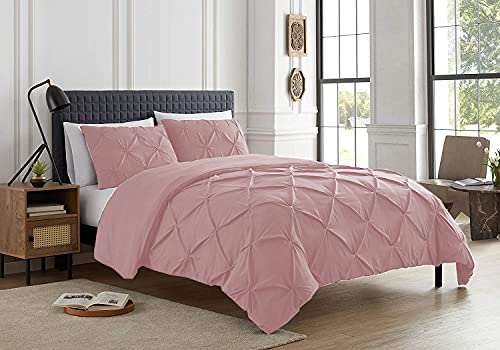 Pintuck Duvet Cover with Pillow Cases 100% Cotton Quilt Covers Bedding Bed Set Single Double King Super King Size (Pink, Double)