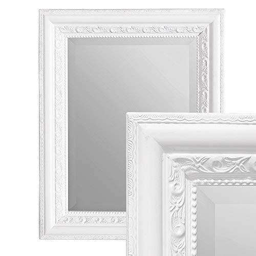 LEBENSwohnART Wandspiegel Argento barock 50x40cm Spiegel Pur-Weiß Holzrahmen und Facette