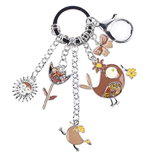 bobvc Sleutelhanger Emaille Metalen Kip Bloem Hangt Sleutelhanger Sleutelhanger Ring Voor Vrouwen Sleutelhanger Accessoires Sieraden